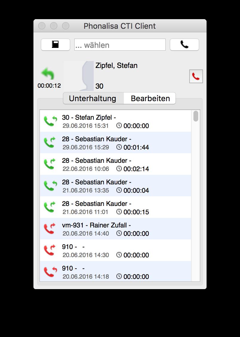 Anrufliste mit Wählfeld